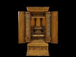 シンプルなデザインとダイナミックな木目が人気の国産仏壇。