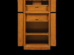 下台には大きい引き出しと可動式のスライド式の供物棚も装備しております。
