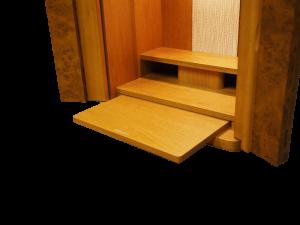 スライド棚が、お給仕に便利にご使用できます。