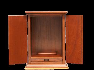 御供用のスライド棚も完備した本格的なミニ仏壇です。