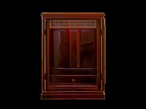 扉を閉じればコンパクトなスペースにも置ける春慶仏壇です。