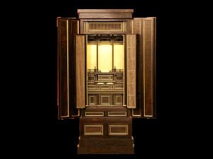 落ち着いた艶の木肌と本金箔のコントラストが美しい創作仏壇です。