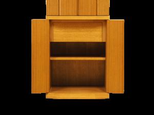 下台には引出しと可動式の棚が付いており骨壺の安置スペースとして使用できます。