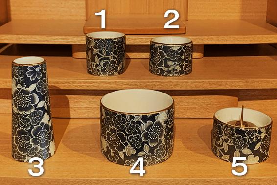 コンパクト仏壇ご購入の際には仏具の基本セットが付属されます