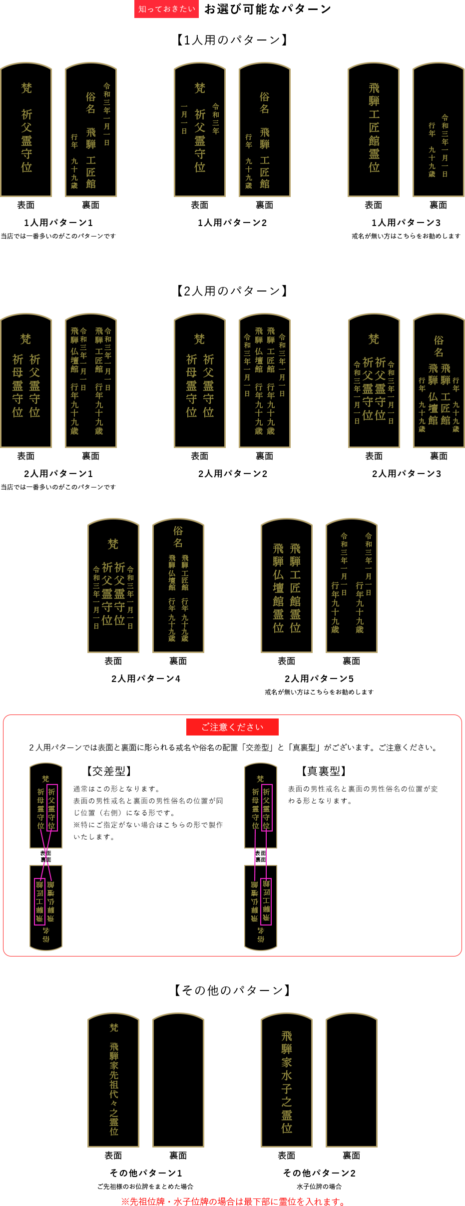 位牌のパターン